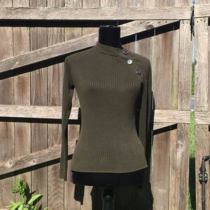 Super cool, versatile olive cotton ribbed top- XS